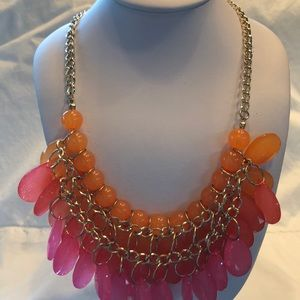 Jewelry - Pink & Orange Colored Disk Necklace, $10